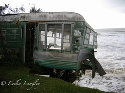 Green trailer on edge, Washaway Beach